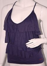 MISS SIXTY Tiered RUFFLED Strappy PURPLE Top FRONT LOGO Lyocell Wool S FREE SHIP