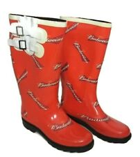 Budweiser rain boots size 8 orange with white /red logo letters rubber women's