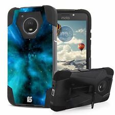 Rugged Dual Layered Case w/Kickstand Cover for Motorola Moto E4 (2017)