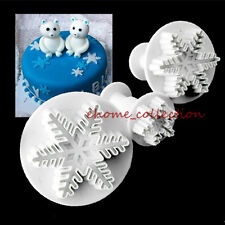 3pcs Xmas Snowflake Cutter Plunger Mold Christmas Cupcake Cake Decorating Tools