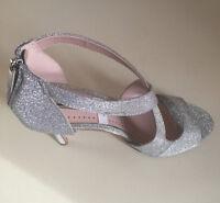 MISS KG KURT GEIGER WOMEN SILVER GLITTER STRAPPY STILETTO SHOES Size 38- 39 & 40