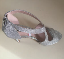 MISS KG KURT GEIGER WOMEN SILVER GLITTER STRAPPY STILETTO SHOES Size 38- 39 & 40