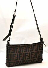 Authentic FENDI Zucca Shoulder Bag Canvas Leather Brown A3605
