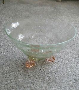 Beautiful Pale Apple Green Crackle Effect Bowl With Peach Feet