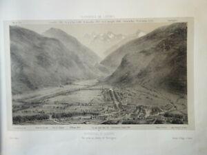 Victor PETIT (1817-1871) LITHO VUE BAGNERES DE LUCHON PYRENEES OCCITANIE 1860 e
