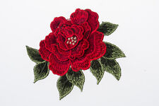 Canation Red Embroidered Craft Bouquet Flower Needlework Floral Decor Sew Iron