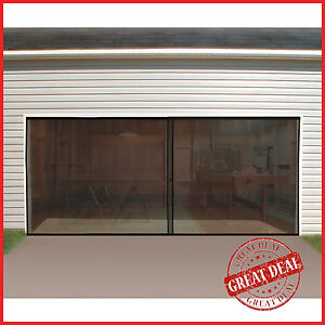 Garage Door Screen Double Magnetic Closure Insects Mosquito Net Bugs Mesh Air