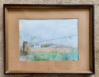 "Original Landscape watercolor painting Signed Robinson framed matted 20"" x 15.5"""