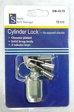 Simply Self Storage 19 mm Cylinder Lock With 3 Tubular Keys OB-CL19 >NEW<