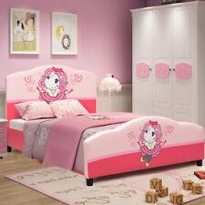 Kids Children Upholstered Platform Toddler Bed Bedroom Home Girl Pattern