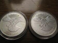 "(2)2014 Canada ""Birds of Prey Series"" Peregrine Falcon .9999 Silver 1oz $5 Coins"