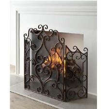 """Kora Fireplace Screen Aged Maple 55"""" Scroll 3 Panel Italian Scroll Firescreen"""