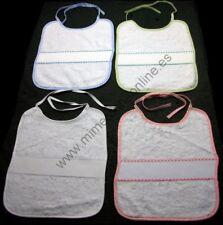 Babero tela tipo toalla, blanco, borde color, para punto de cruz
