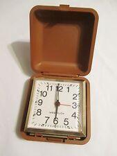 WESTCLOX Vintage Wind-Up Travel Alarm Clock Works Great Made Brazil Brown Case