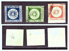 "URUGUAY: 1858 Sc: UY-4 - 6 ""Allegory of the Sun"" 120c, 180c & 240c. Used"