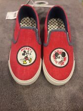 Disney Junk Food Mickey Mouse Sneakers Red Denim Slip On Shoes Size 1