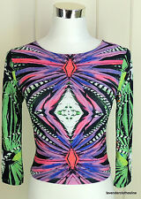bebe S Wild Multi Colored Boho Hippie Jersey Stretch Knit Cropped Sexy Top
