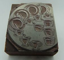 Vintage Printing Letterpress Printers Block Dishes plates & Cups
