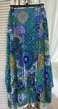 New~Plus Size 1X 2X 3 Blue Green Tiered Long Boho Mesh Peasant Chicos Maxi Skirt