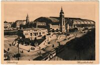 Ansichtskarte Hamburg - Hauptbahnhof mit Straßenbahn/Passanten - schwarz/weiß
