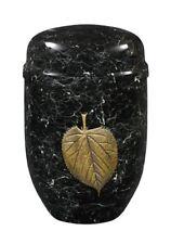 PURLEY Marmo Nero Oro Foglia Cremazione Ceneri Urna-UU150013C