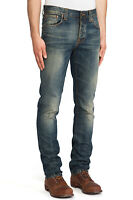 Nudie Herren Bio Denim Slim Fit Jeans Hose - Grim Tim Gritty Blue