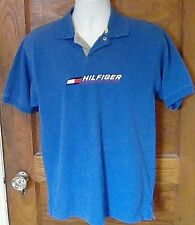 VTG Tommy Hilfiger Athletics Spell Out Short Sleeve Snap Polo Blue S Small FS!