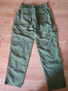 VINTAGE GO FISH CONVERTIBLE PANTS GREEN LIGHTWEIGHT NYLON MESH LINED 38 X 33
