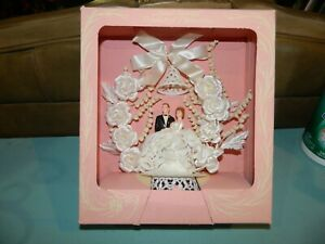 Vintage P & H 1950s Wedding Cake Topper Bride and Groom Hand Painted