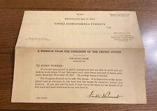 Vintage Franklin Roosevelt Facsimile Signature 1937 Unemployment Census Postcard