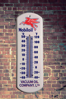 MOBIL METAL WALL THERMOMETER RETRO  VINTAGE MAN CAVE OUTDOOR INDOOR WALL