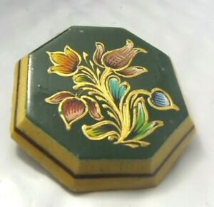 Vintage Costume Brooch Pin Hand Painted Floral on Wood Octagon Green Background