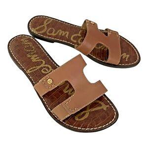 Sam Edelman KEEN Natural Tan Brown Leather Slide Slip-On Flat Sandal 6 EUR 36