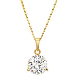 """2ct Round Cut Solitaire Martini Solid 14k Yellow Gold Pendant Necklace 16"""" Chain"""