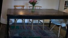 Large Rustic Farmhouse Table Dark Walnut top and black skirt and legs