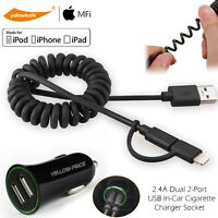 Apple Certified Adaptive Fast USB Car Charger Iphone Charging Cable Data Sync