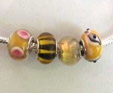 4 x Beads *** AUS ECHTEM SILBER und Glasperle, gelb