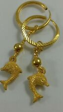 24K Solid Yellow Gold Hoop Dangle Earrings Dolphin Diamond Cut- Women girl