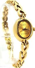 New Citizen Ladies  Gold-tone, Oval, gold-dial Dress Watch