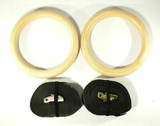 "New Wooden Crossfit Gymnastic Training Rings 1.25"" - 18' Strap"