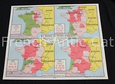 Affiche scolaire ancienne 7 Croisades 8 France au Moyen Age Rossignol 90*75