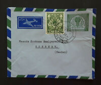 1955 Karachi Pakistan To Ronnery Sweden Air Mail Cover