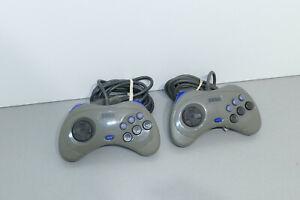 X2 manettes officielles Saturn grises - official controller grey sega