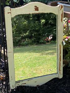Antique Vintage Wood Mirror White Chippy Paint Dresser Mirror Salvage Arched