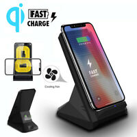 2 Coils QI Wireless Charger 10W Fast Charging Cooling Fan Phone Stand Dock Pad