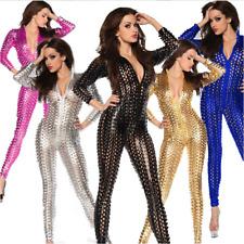 Women Sexy Playsuit Jumpsuit PVC Leather Plus Sizes Bodysuit Cat Suit Club Wear
