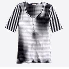 J Crew Factory Women's S Navy & Ivory Striped Henley Tee T-Shirt NWT $36.5