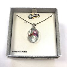 NEW in box Shopkins fine silver plated charm necklace floating rhinestones gift