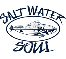 """SALTWATER SOUL Decal Oval Logo 8"""" x 6"""" Fishing Sticker Vinyl Decal"""