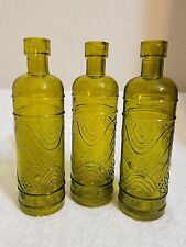 Luna Bazaar Small Vintage Glass Bottle Set 6.5-Inch, Mabel Round Design, Green 3